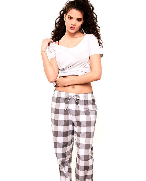 Flannel Pajama Pant Grey Check 1