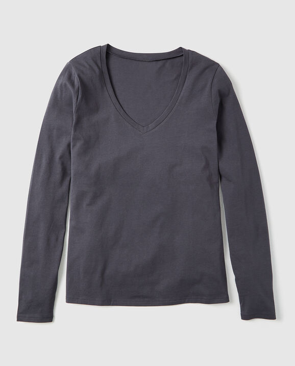 Long Sleeve V-Neck Dark Grey 2