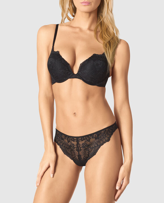 Up 2 Cup Push Up Bra Smoulder Black 1