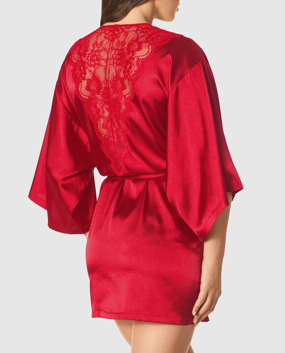Satin Kimono with Lace Back