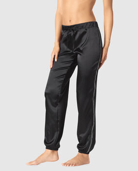 Satin Jogger with Rhinestone Trim