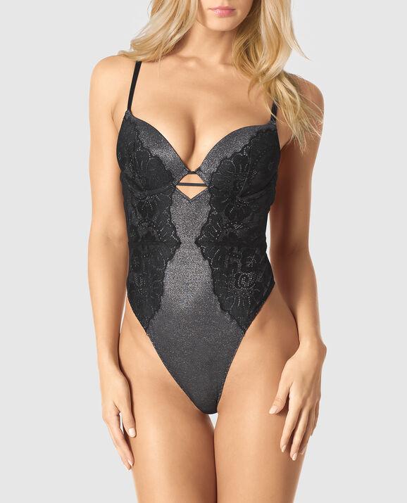 Push Up Lace Bodysuit Smoulder Black 3