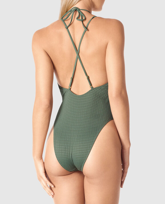 Deep V One Piece Olive 2