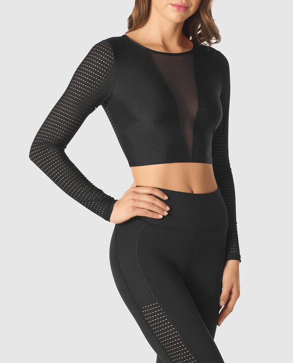 Long sleeve Crop Top Smoulder Black 3