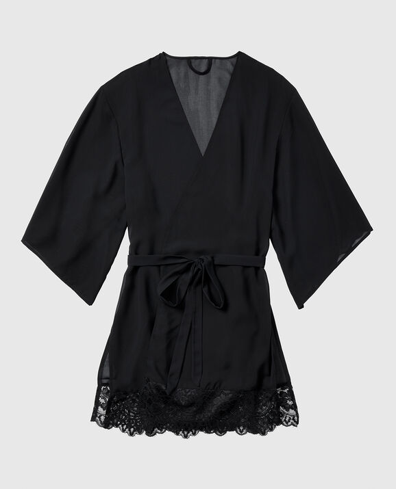 Chiffon Kimono Smoulder Black 1