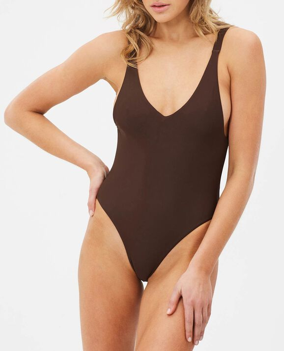 V Neck One-Piece Decadent Chocolate 1