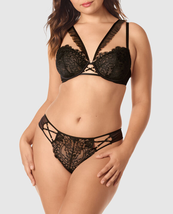 Unlined Demi Bra Smoulder Black 2