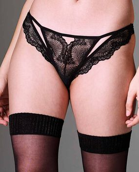 Kane Cut-Out Thong Panty Smoulder Black 1