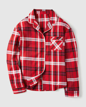 Flannel Button Down Pajama Shirt Red Plaid 1