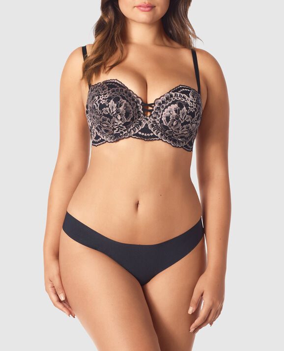 Strapless Up 2 Cup Push Up Bra Black with Nude 3