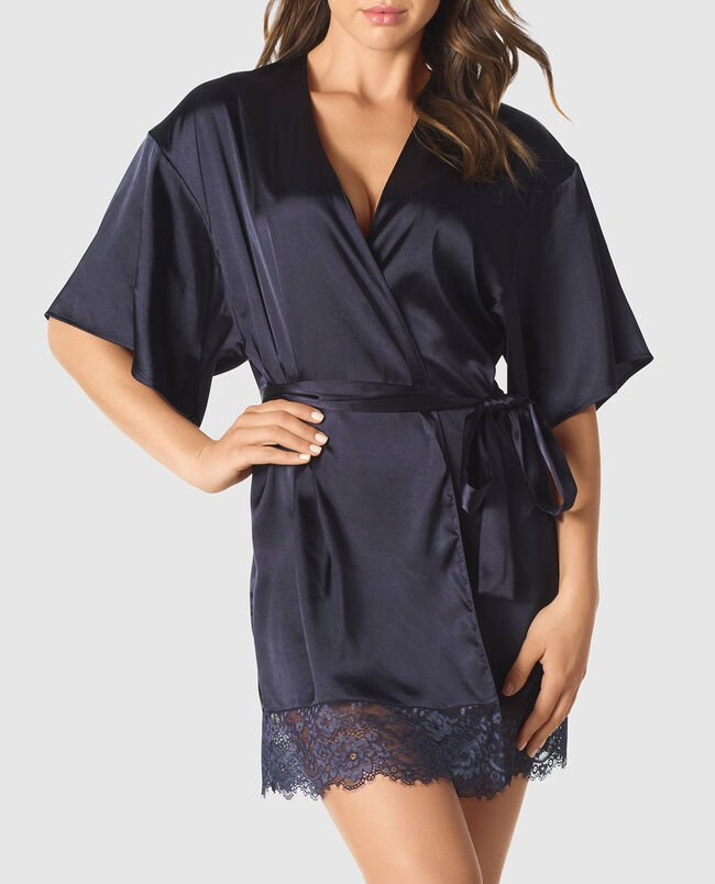 Satin Kimono with Cut-Out Back