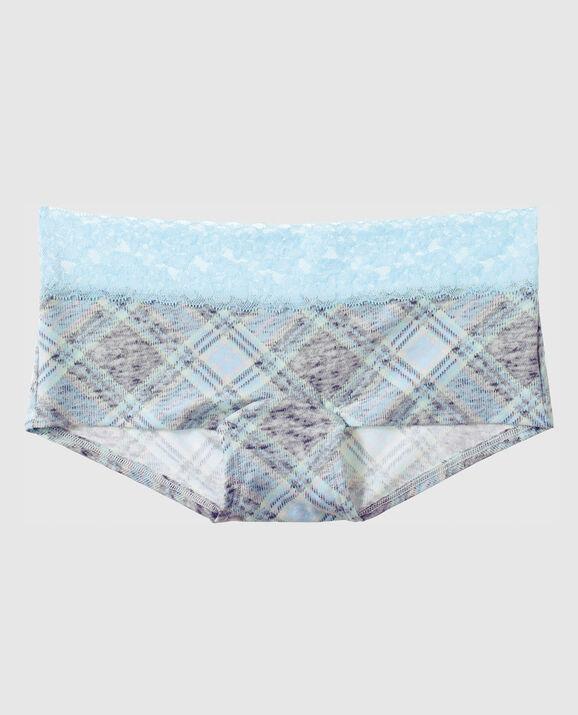 Boyshort Panty Light Blue Grey Plaid 1