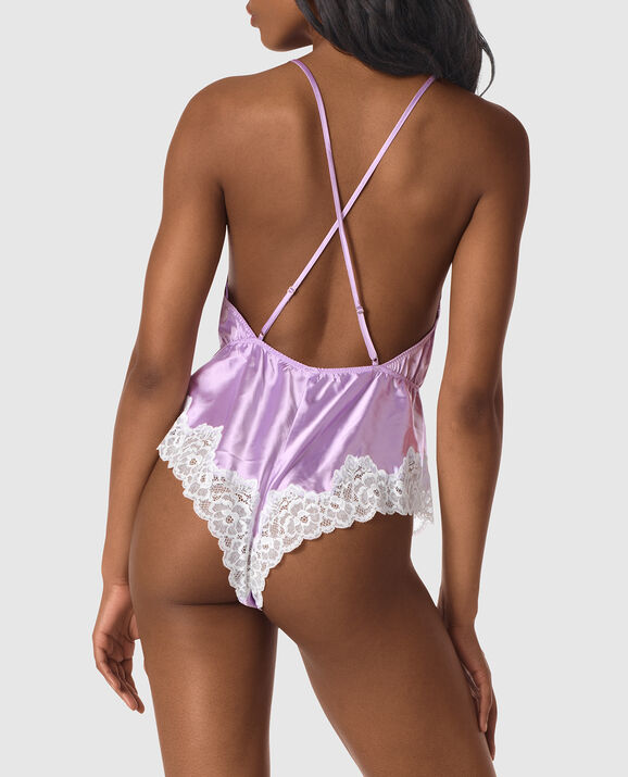 Satin and Lace Romper Lilac Whisper 2