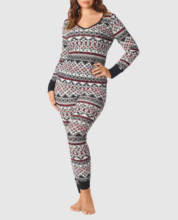The Skinny Pajama Set Black White Fairisle 2