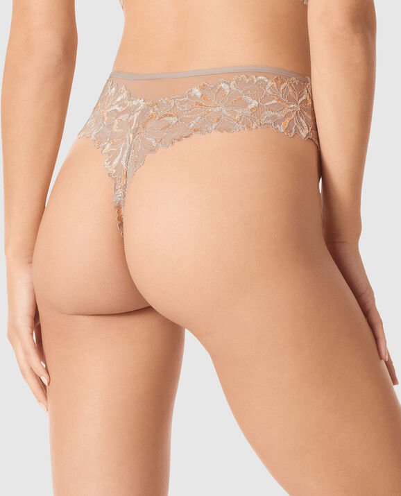 High Waist Thong Panty Sable Smoke 2