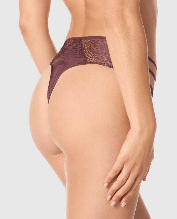 High Waist Thong Panty Chocolate Plum 2