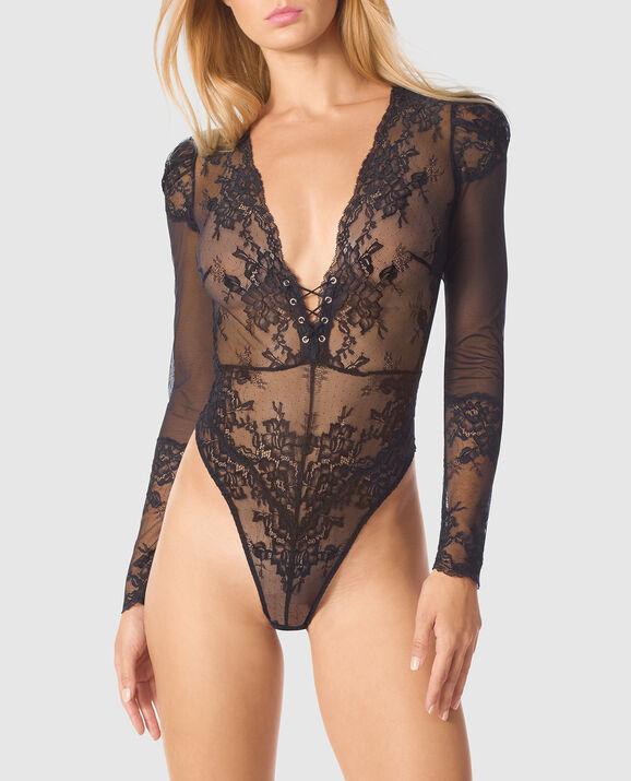 Long Sleeve Bodysuit Smoulder Black 1