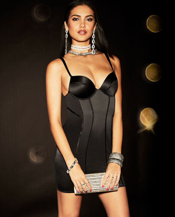 Satin Push Up Slip Dress Smoulder Black 3
