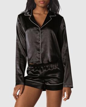 Satin Short Pajama Set Smoulder Black 1