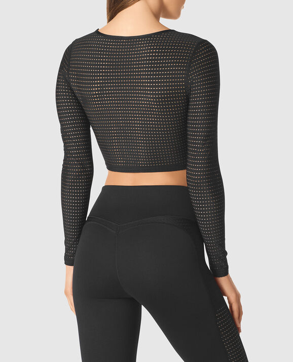 Long sleeve Crop Top Smoulder Black 2