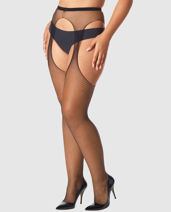 Fishnet Stockings with Garter Smoulder Black 1