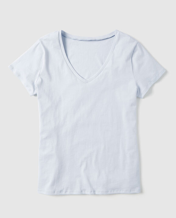 Short Sleeve V-Neck Pale Blue 1
