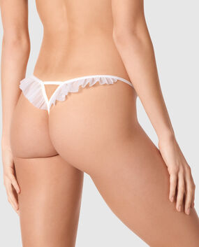 Crotchless G-String Panty White 1