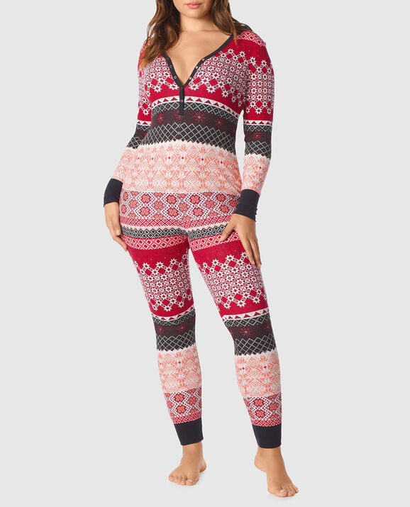 Thermal Jumpsuit Pink Black Snowflake 1