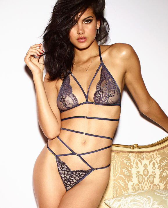Unlined Lace Bra Graphite with Night Shimmer 3