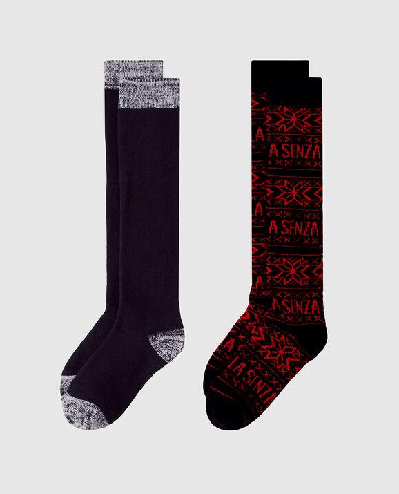 Knee High Sock 2 Pack Jester Red with Smoulder Black 2