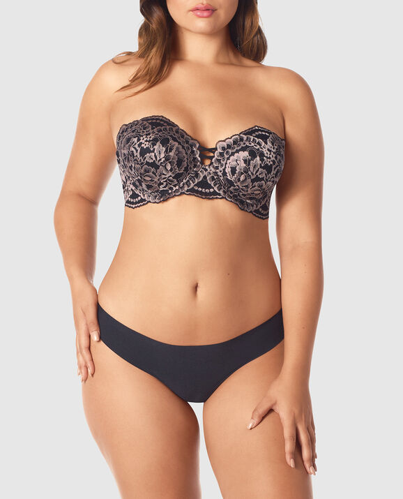 Strapless Up 2 Cup Push Up Bra Black with Nude 1