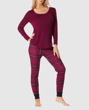 The Selfie Pajama Set Ruby Wine Plaid 1