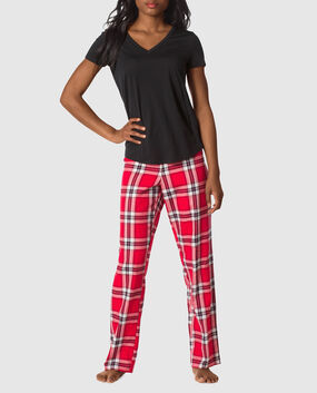 The Cozy Pajama Set Light Pink Grey Plaid 1