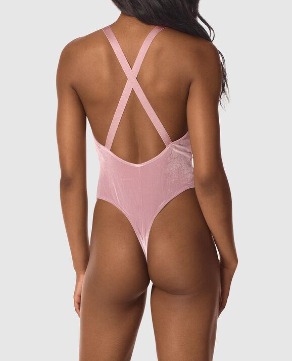 Unlined Velvet Bodysuit Mocha Mauve 2