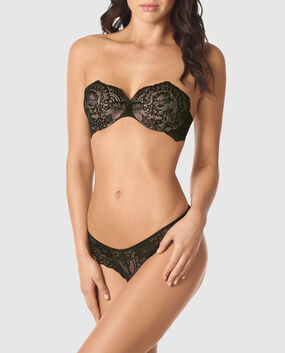 Lightly Lined Strapless Bra Black with Nude 1