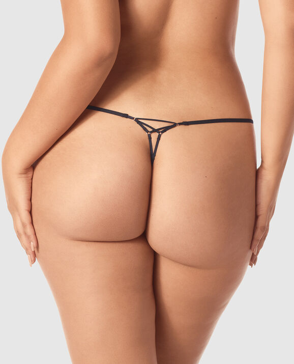 G-String Panty Black with Lavender Stone 2