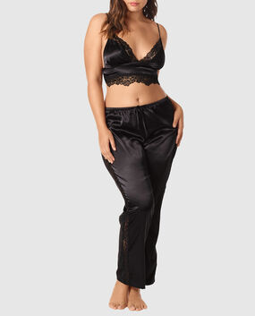 Satin Cami and Pant Set Smoulder Black 1