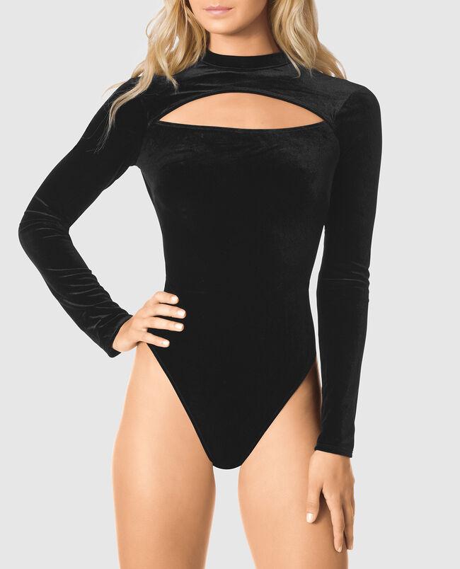 Velvet Bodysuit with Keyhole