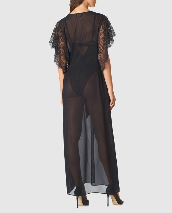 Long Chiffon Robe Smoulder Black 2