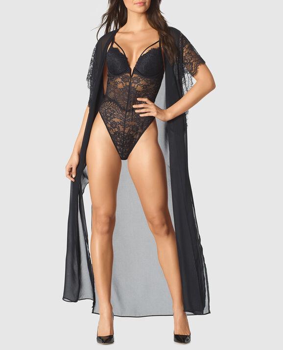Long Chiffon Robe Smoulder Black 3