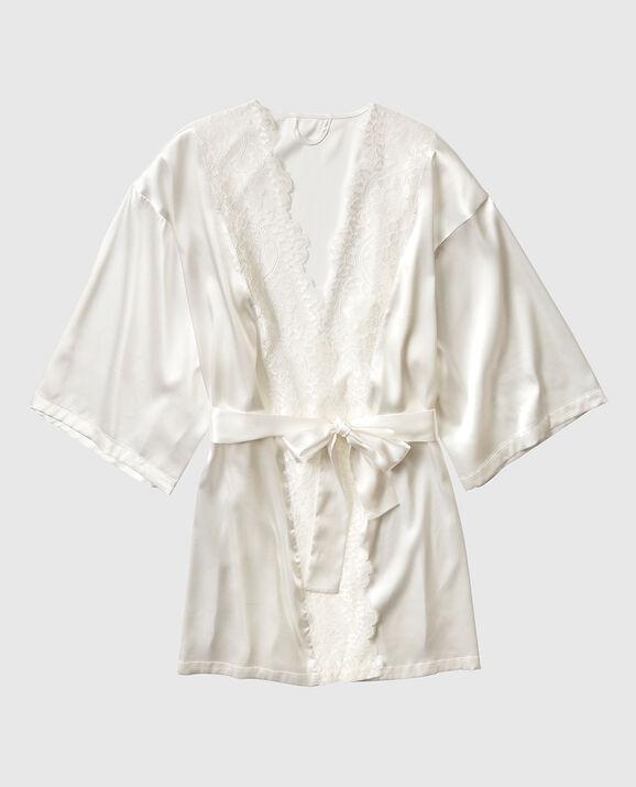 Satin Kimono with Lace Ivory 1
