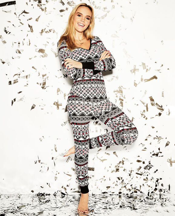 The Skinny Pajama Set Black White Fairisle 1