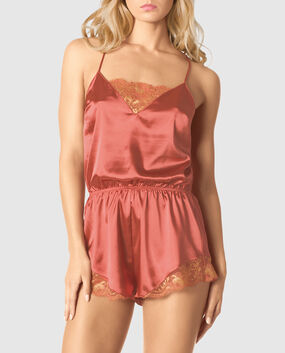 Satin Romper with Lace