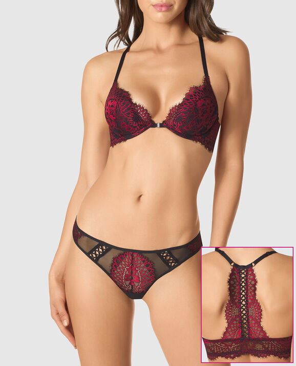 Front-Close Push Up Bra Red Lacquer 1