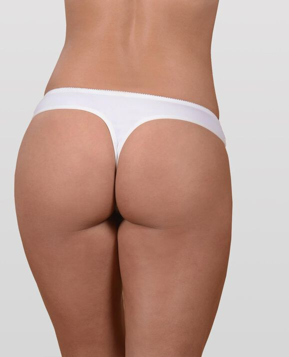 The Flawless Lace Trim Thong Panty White 2