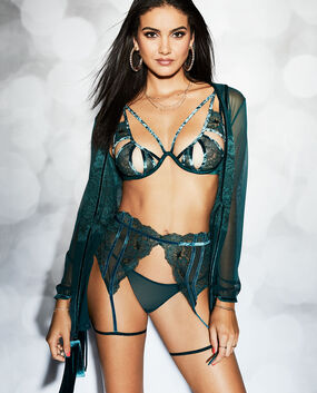 Unlined Lace Bra with Cut-Outs Teal Coast 1