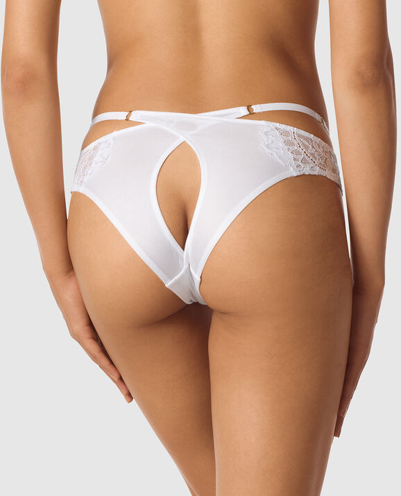 Cheeky Panty with Open Keyhole White 2