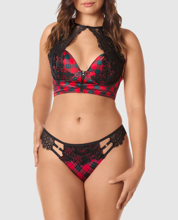 Light Push Up Bra Top Red & Black Plaid 1