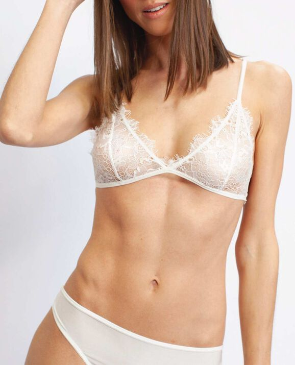 Sundaly Lace Bralette White 1