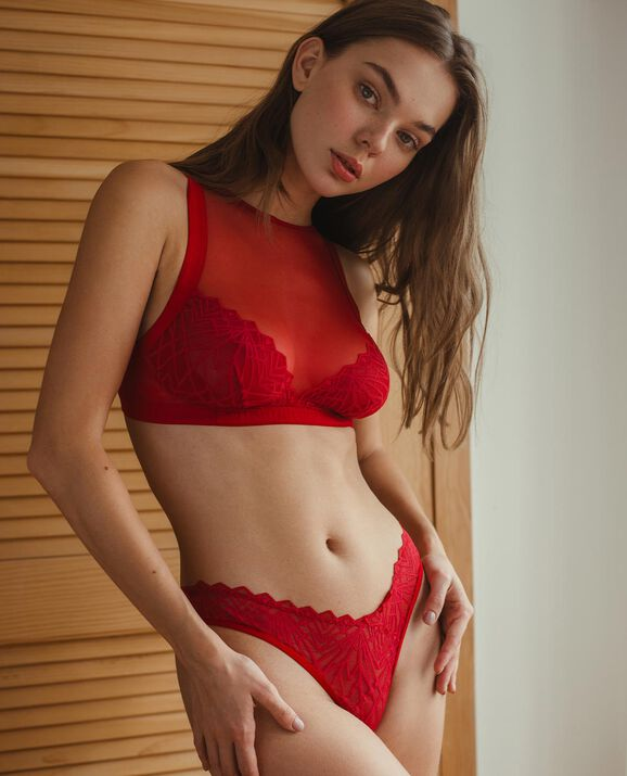 Kiera High Neck Bralette Heatwave Red 1
